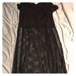 Tops - Ankle length net & cotton shirt